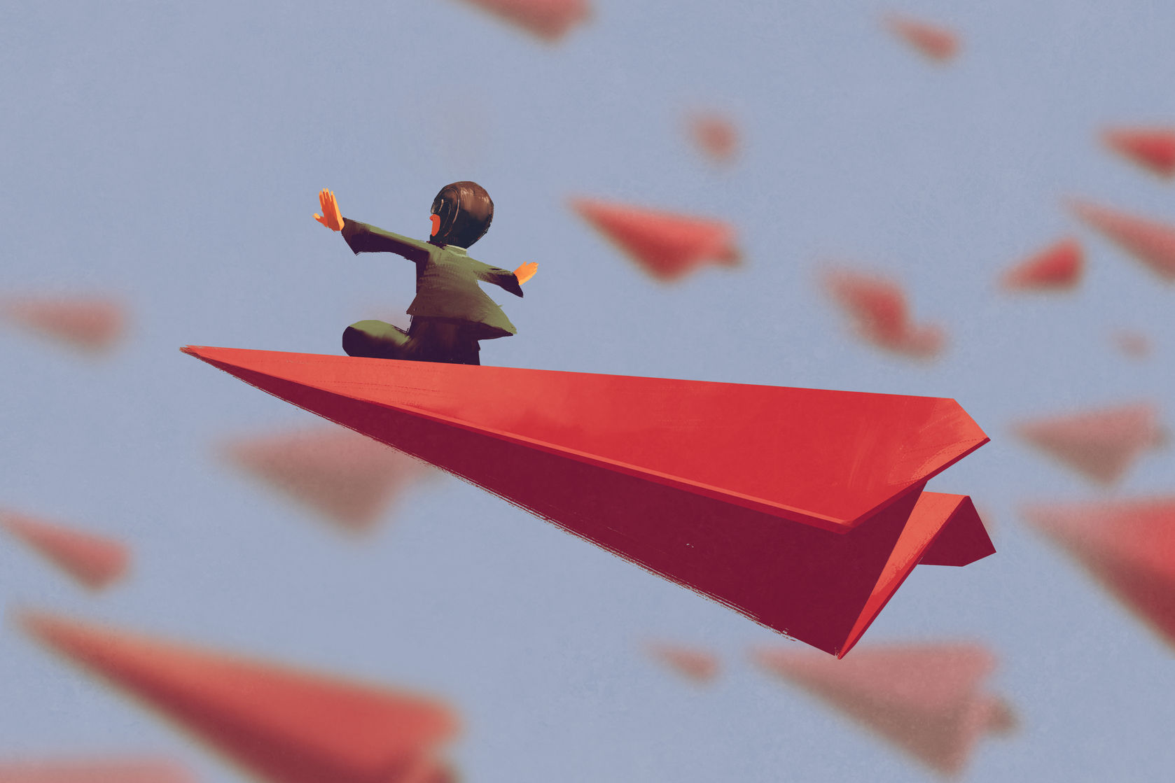 60871747 - man sitting on red airplane paper in the sky,illustration painting